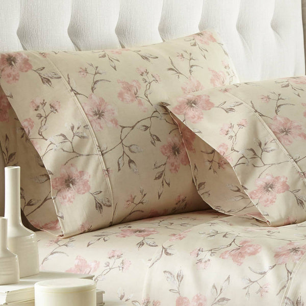 Mystic Garden 100% Cotton Sateen Pillow Cases in Soft Sand