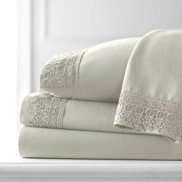 Vintage 4-piece Crochet Lace Hem Extra Deep Pocket Comfortable Sheet Set in Off White
