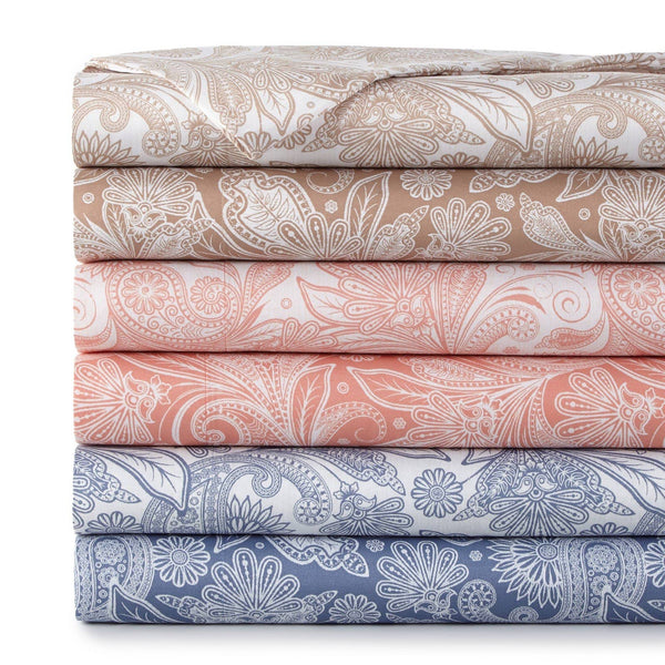 Soft and Comfortable Perfect Paisley Microfiber Sheet and Pillowcase Set Main Image
