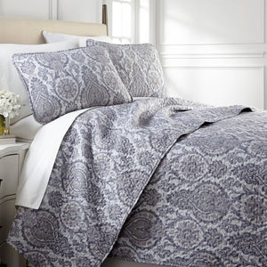 Boho Paisley Quilt Set in Grey