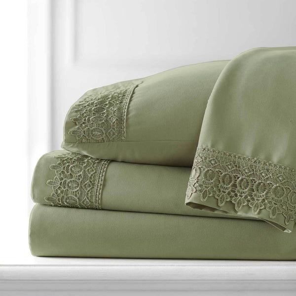 Vintage 4-piece Crochet Lace Hem Extra Deep Pocket Comfortable Sheet Set in Sage green