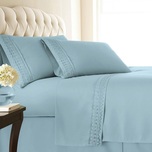 Vintage 4-piece Crochet Lace Hem Extra Deep Pocket Comfortable Sheet Set in Sky Blue