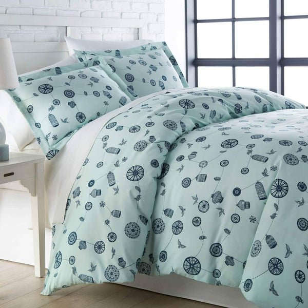 Green bird and cage modern duvet cover set