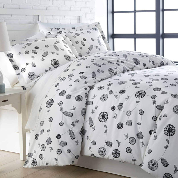 White and black bird and cage modern duvet cover set