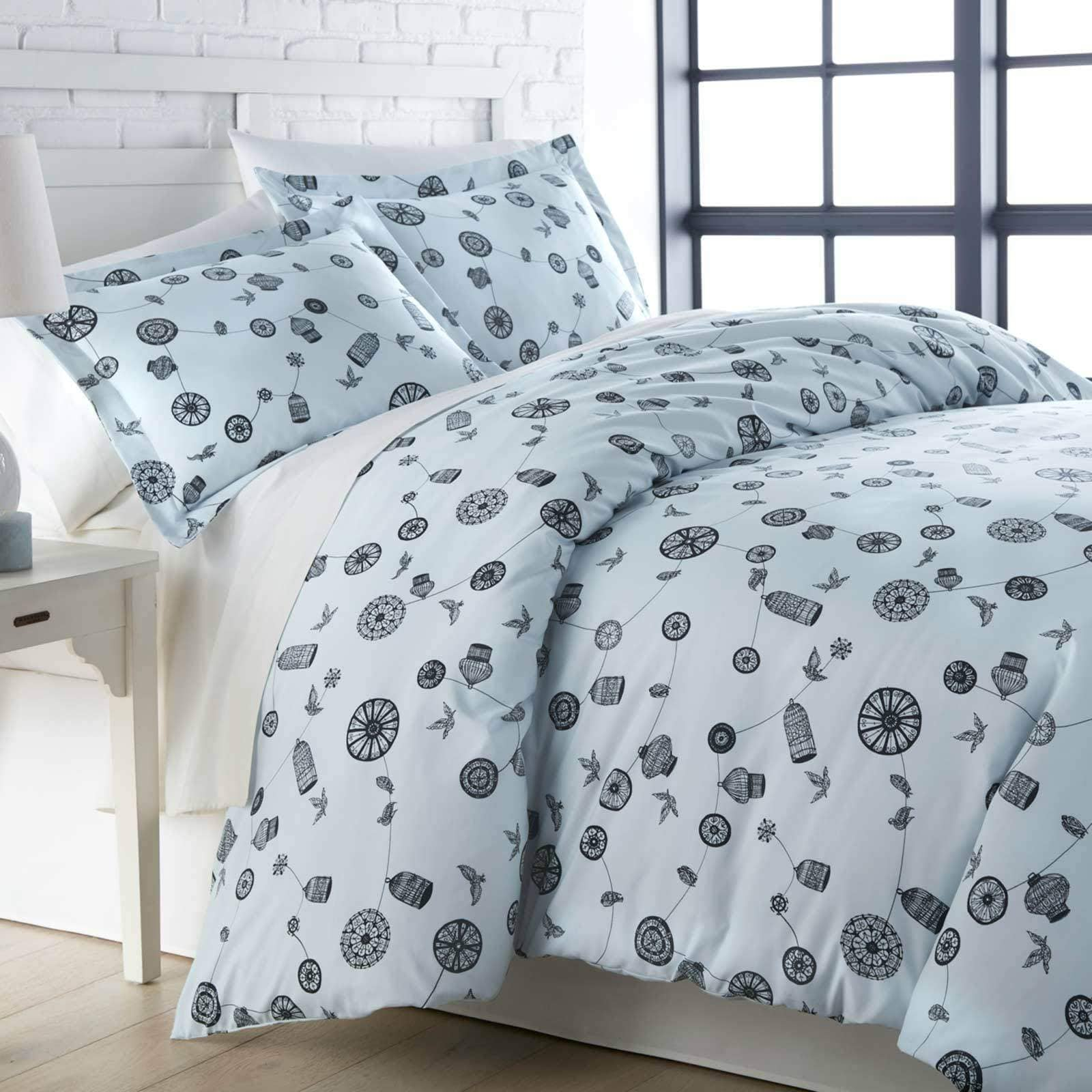 Light blue bird and cage modern duvet cover set