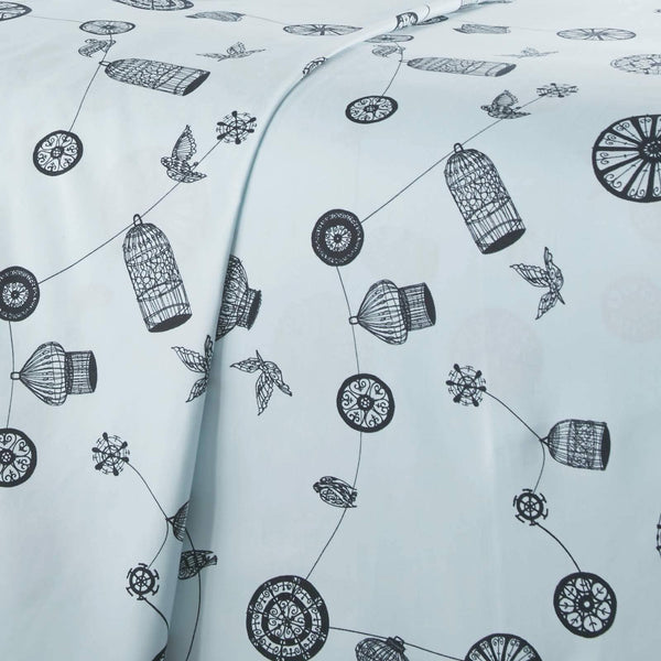 Light blue bird and cage modern sheet set