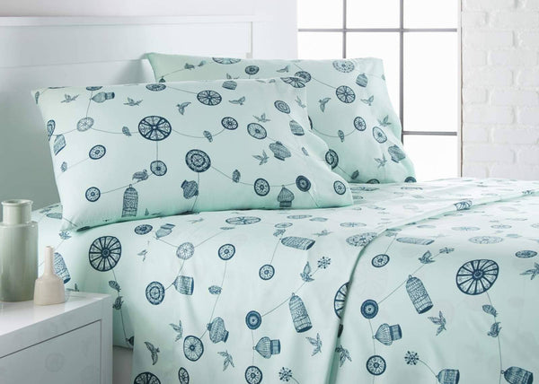 Green bird and cage modern sheet set