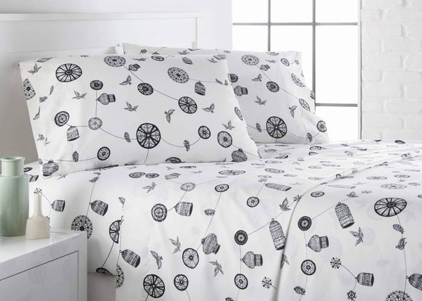 White and black bird and cage modern sheet set