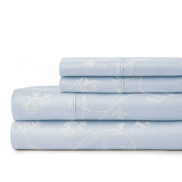 Sweetbrier 100% Cotton Sateen Extra Deep Pocket Sheets Set Luxury Collection in Ballard Blue with White Flowers
