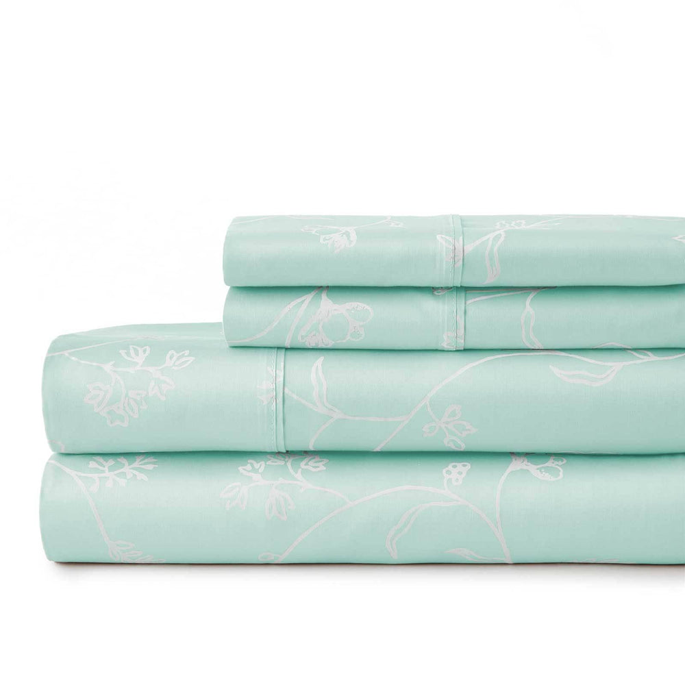 Sweetbrier 100% Cotton Sateen Extra Deep Pocket Sheets Set Luxury Collection in Pastel Green with White Flowers