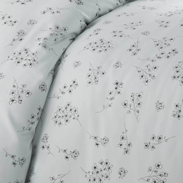 light blue floral print farmhouse duvet cover set