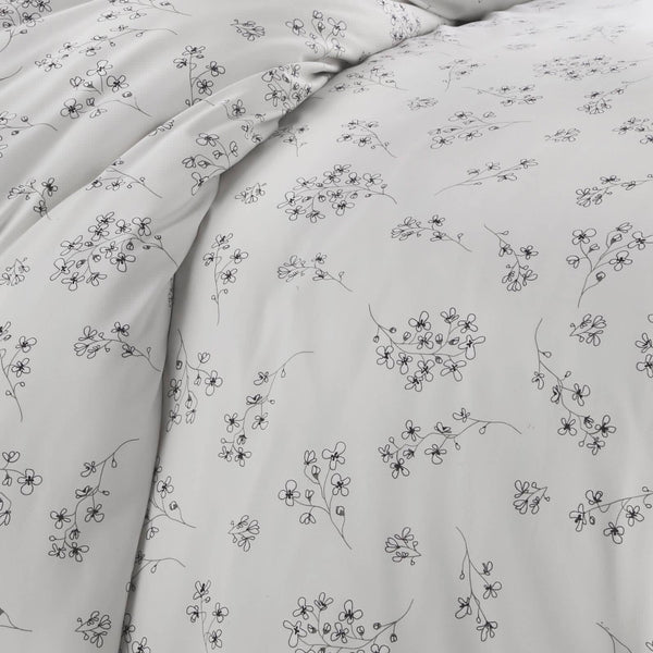 light grey floral print farmhouse duvet cover set