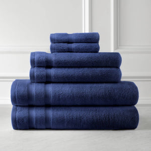 Classic Combed Cotton Soft and Luxury Navy Blue Towel Set by Southshore Fine Linens Main Image