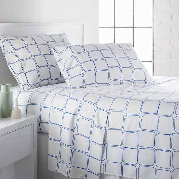 Tilted Tiles Printed Sheet Sets in Blue