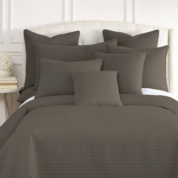 Vilano Quilted Shams in Dark Taupe