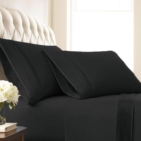 Vilano Springs Pleated Hem Pillow Cases in Black
