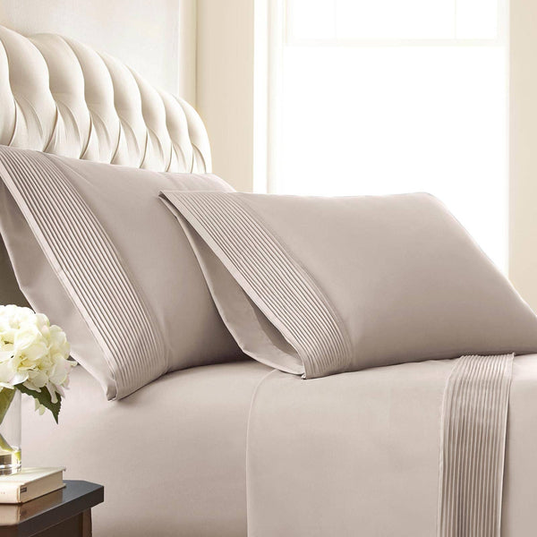 Vilano Springs Pleated Hem Pillow Cases in Bone