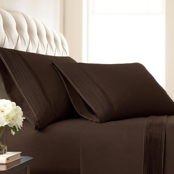 Soft and Luxurious Extra Deep Pocket Pleated Sheet Sets by Vilano Springs in Brown