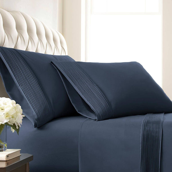 Vilano Springs Pleated Hem Pillow Cases in Dark Blue
