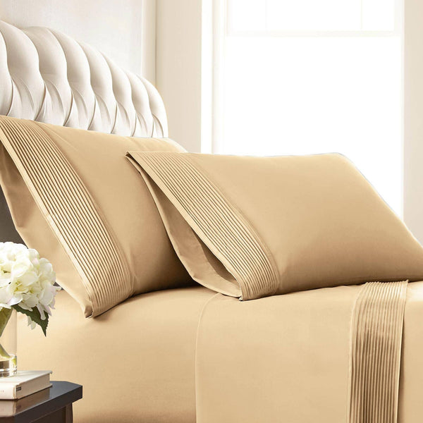 Vilano Springs Pleated Hem Pillow Cases in Gold