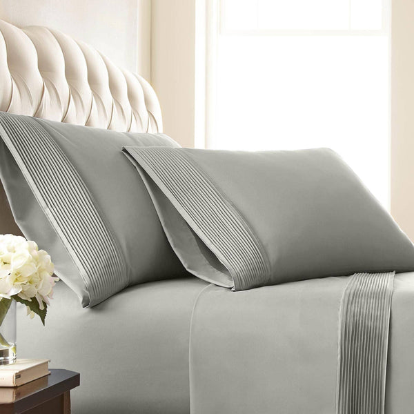 Vilano Springs Pleated Hem Pillow Cases in Steel Grey