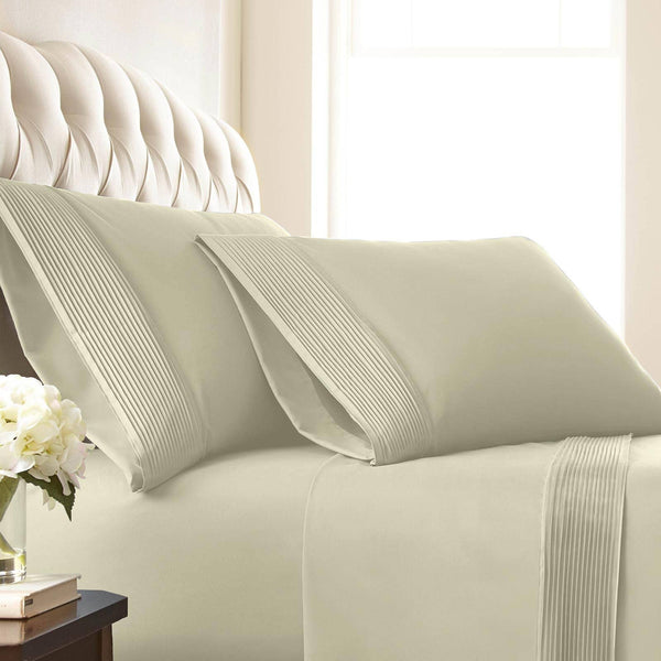 Vilano Springs Pleated Hem Pillow Cases in Off White