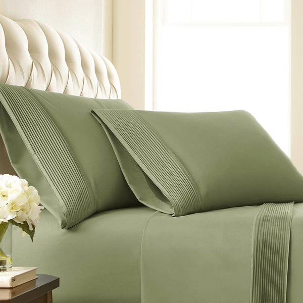 Soft and Luxurious Extra Deep Pocket Pleated Sheet Sets by Vilano Springs in Sage Green