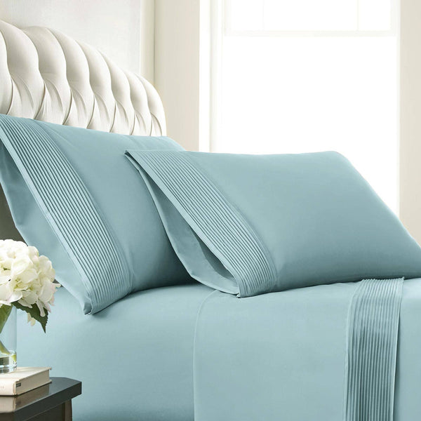 Soft and Luxurious Extra Deep Pocket Pleated Sheet Sets by Vilano Springs in Sky Blue