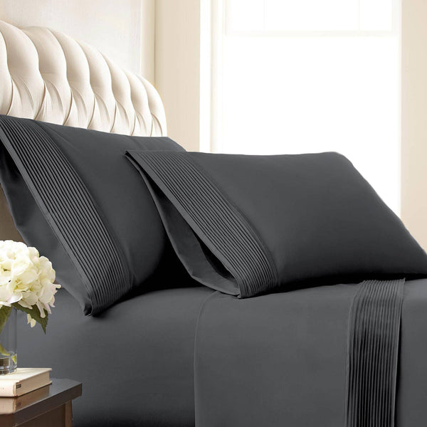 Vilano Springs Pleated Hem Pillow Cases in Slate