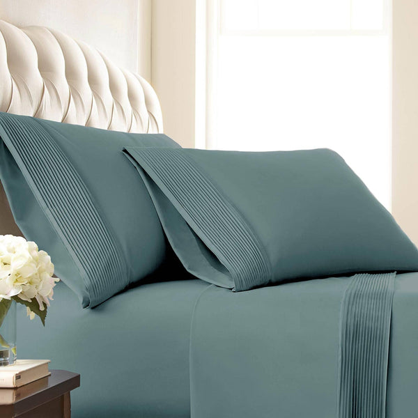 Soft and Luxurious Extra Deep Pocket Pleated Sheet Sets by Vilano Springs in Steel Blue