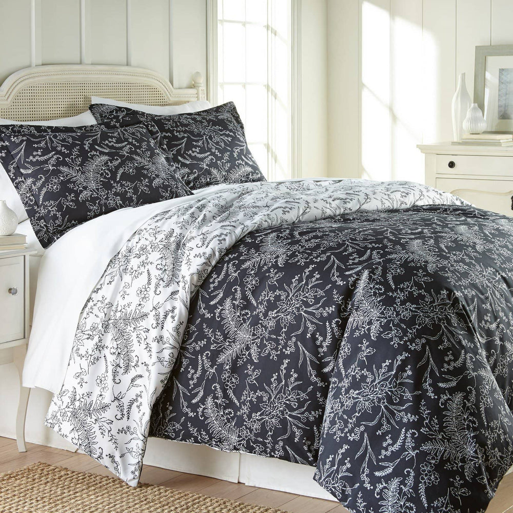 Reversible Black Winterbrush Microfiber Duvet Cover and Sham Set by Southshore Fine Linens Main Image