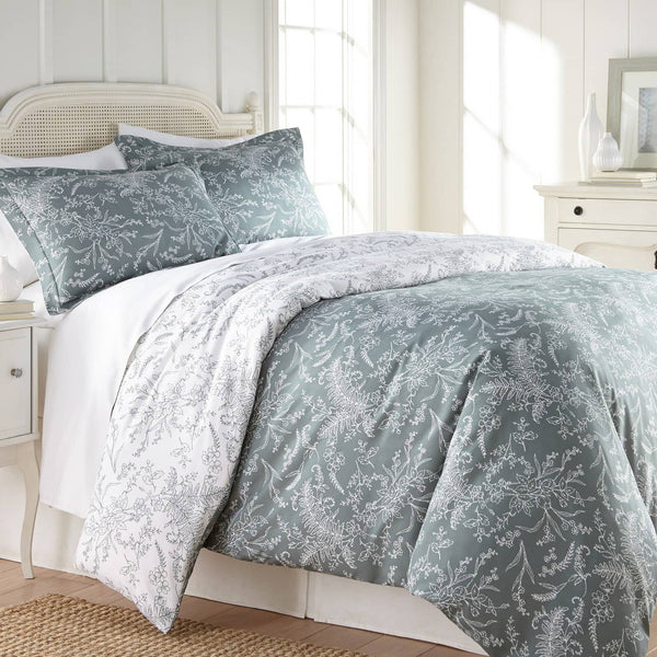Reversible Teal Winterbrush Microfiber Duvet Cover and Sham Set by Southshore Fine Linens Main Image