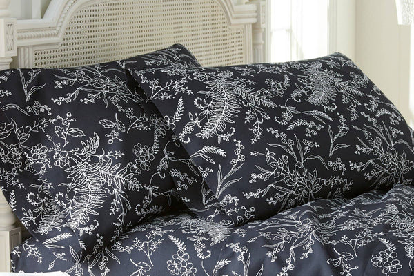 Soft and Comfortable Black with White Flowers Winterbrush Pillow Cases by Southshore Fine Linens Main Image