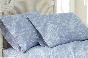 Soft and Comfortable Blue with White Flowers Winterbrush Pillow Cases by Southshore Fine Linens Main Image