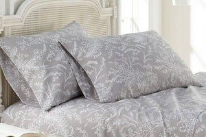 Soft and Comfortable Grey with White Flowers Winterbrush Pillow Cases by Southshore Fine Linens Main Image