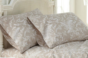 Soft and Comfortable Warm Sand with White Flowers Winterbrush Pillow Cases by Southshore Fine Linens Main Image