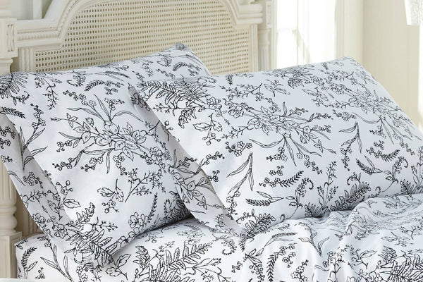 Soft and Comfortable White with Black Flowers Winterbrush Pillow Cases by Southshore Fine Linens Main Image