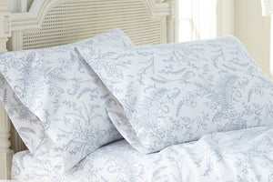 Soft and Comfortable White with Blue Flowers Winterbrush Pillow Cases by Southshore Fine Linens Main Image