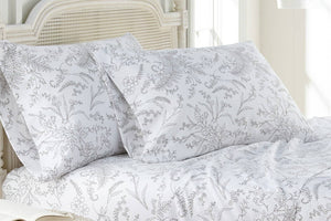 Soft and Comfortable White with Steel Gray Flowers Winterbrush Pillow Cases by Southshore Fine Linens Main Image