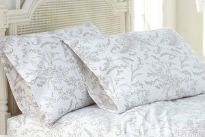 Soft and Comfortable White with Warm Sand Flowers Winterbrush Pillow Cases by Southshore Fine Linens Main Image