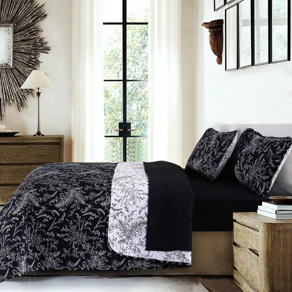Reversible Black Winterbrush Microfiber Quilt and Sham Set by Southshore Fine Linens Image 2