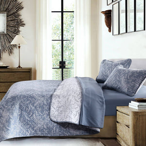 Reversible Blue Winterbrush Microfiber Quilt and Sham Set by Southshore Fine Linens Image 2
