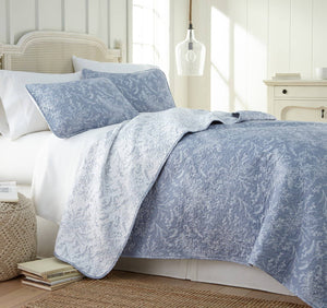 Reversible Blue Winterbrush Microfiber Quilt and Sham Set by Southshore Fine Linens Main Image