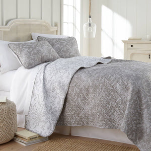 Reversible Steel Gray Winterbrush Microfiber Quilt and Sham Set by Southshore Fine Linens Main Image