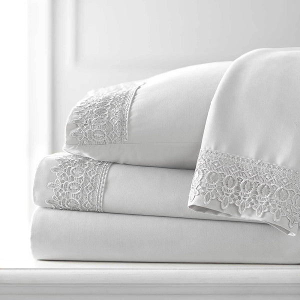 Vintage 4-piece Crochet Lace Hem Extra Deep Pocket Comfortable Sheet Set in Bright White