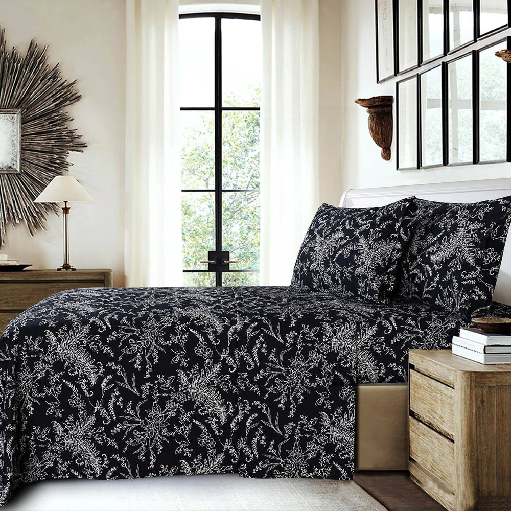 Winter Brush Print Ultra Soft and Supreme Quality Sheet Set in Black with White Flowers