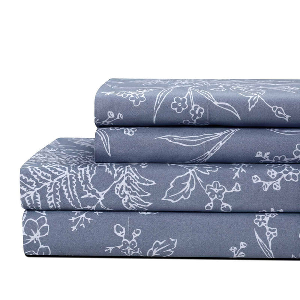 Winter Brush Print Ultra Soft and Supreme Quality Sheet Set in Blue with White Flowers