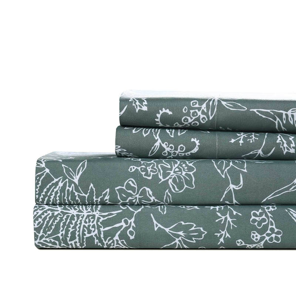 Winter Brush Print Ultra Soft and Supreme Quality Sheet Set in Teal with White Flowers