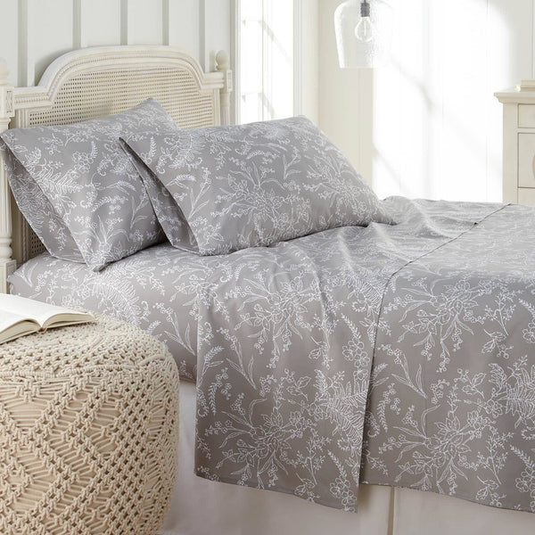 Winter Brush Print Ultra Soft and Supreme Quality Sheet Set in Steel Grey with White Flowers