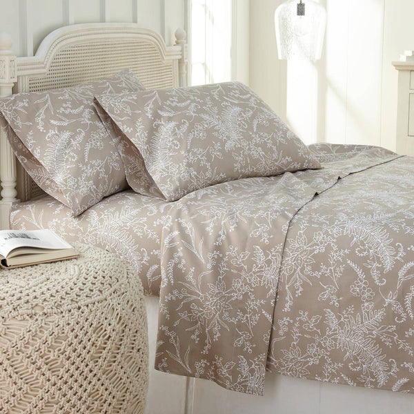 Winter Brush Print Ultra Soft and Supreme Quality Sheet Set in Warm Sand with White Flowers